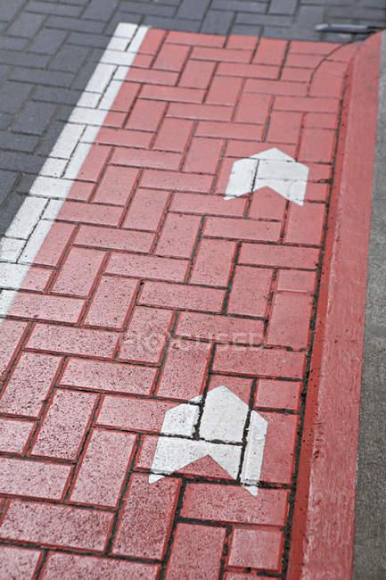 Marcas de estrada numa estrada de paralelepípedos — Fotografia de Stock