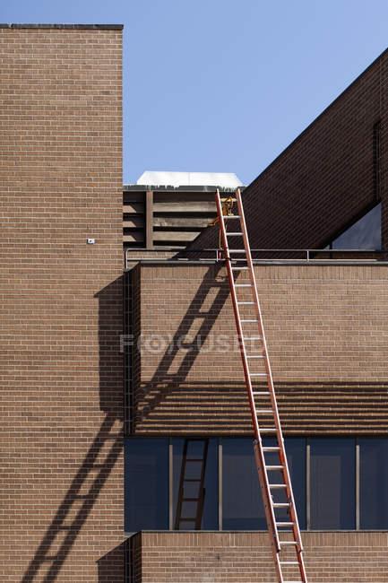 Scala alta che si appoggia contro la costruzione di mattone — Foto stock