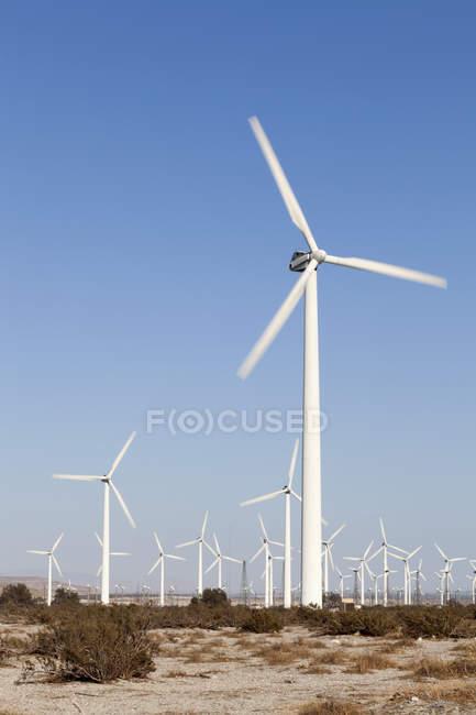 Turbinas eólicas em paisagem árida sobre céu claro — Fotografia de Stock