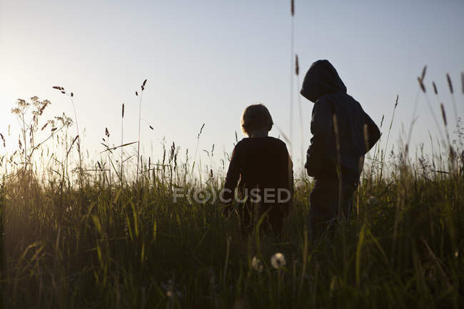 Rear view of two boys standing in field — Stock Photo