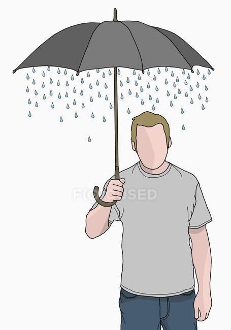 Homem segurando guarda-chuva com chuva saindo dele — Fotografia de Stock