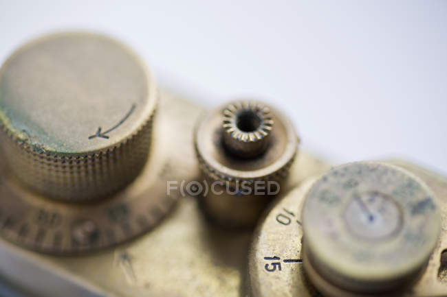 Close up view of vintage camera knobs — Stock Photo