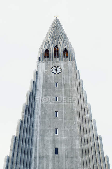 High angle view of Hallgrimur's Church exterior against clear sky — Stock Photo