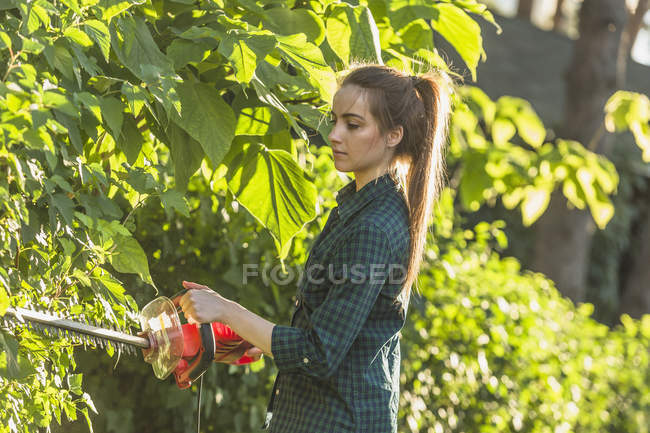 Side view of woman cutting plants with hedge clipper at yard — Stock Photo