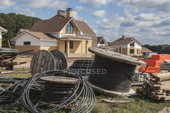 Reels of cable wire on construction site — Stock Photo