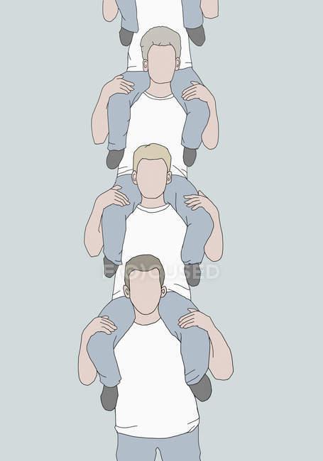 Immagine illustrativa di diversi uomini che si portano sulle spalle — Foto stock