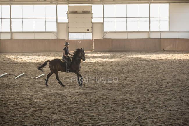 Femme cheval cheval dans l'écurie de la formation — Photo de stock