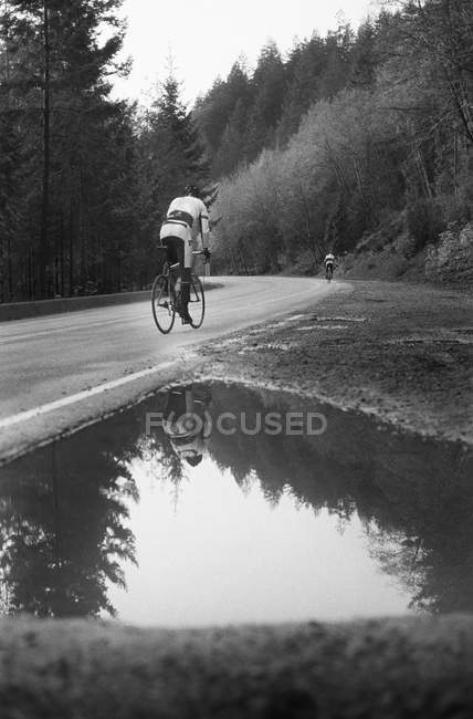 Rear view of man on racing bicycle cycling up mountain road — Stock Photo