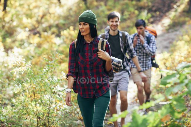 Giovane donna escursioni con gli amici nella foresta — Foto stock