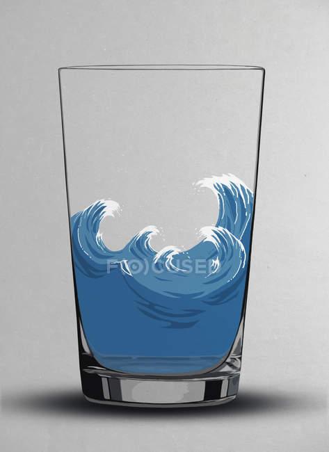 Ilustración de olas tormentosas en un vaso de agua - foto de stock