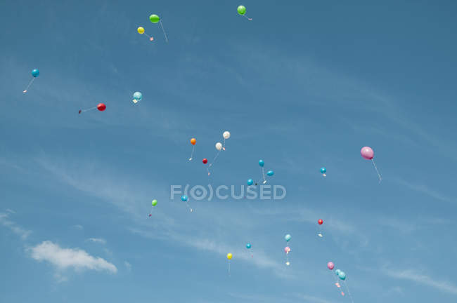 Balloons with messages flying away in blue sky — стоковое фото