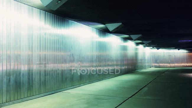 Interior view of illuminated underground tunnel — Stock Photo