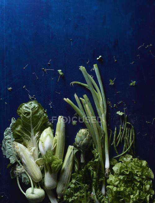 Directamente sobre la vista de verduras sobre la mesa azul - foto de stock
