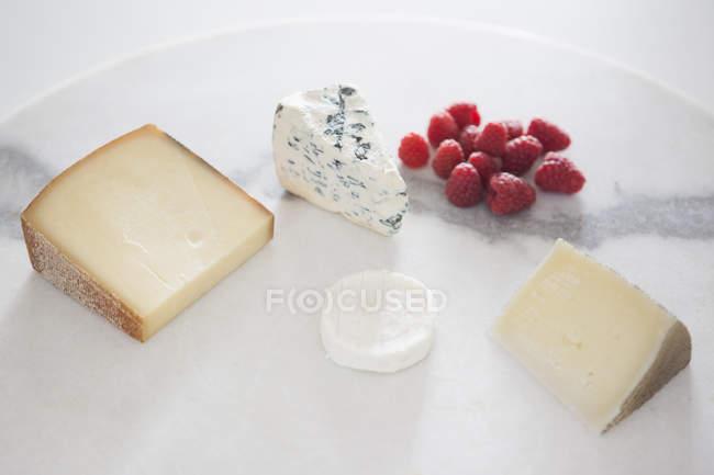 Крупным планом вид сыра и малины в пластине — стоковое фото