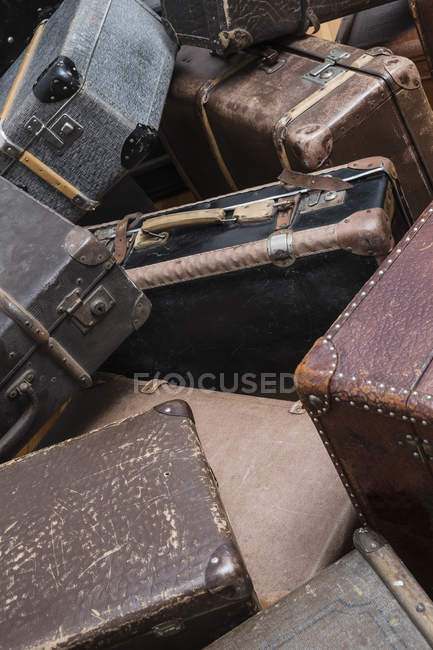 Full frame shot of old suitcases — Stock Photo