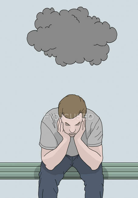 Illustration of man sitting on bench with head in hands and stormy cloud above — Stock Photo