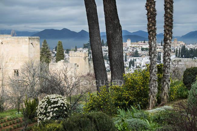 Vistas del paisaje urbano desde el jardín, Alhambra, Granada, España - foto de stock