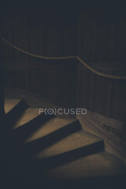 High angle view of steps in dark house — Stock Photo