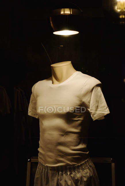 Mannequin wearing boxer shorts and t-shirt — Stock Photo