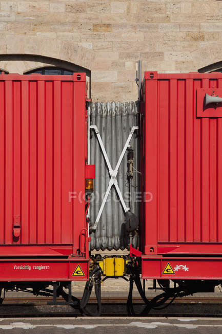 Accordion connector between two train cars — Stock Photo