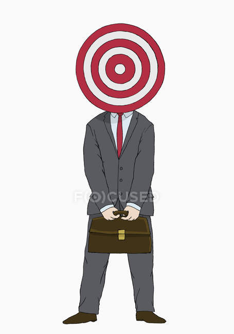 Illustration of businessman with target in front of head — Stock Photo