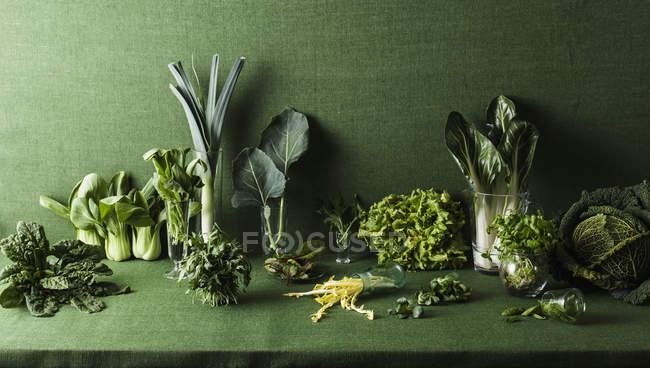 Разные зеленые овощи на зеленом столе — стоковое фото
