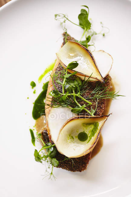 Close up view of fried turbot fillet garnished with herbs on plate — Stock Photo