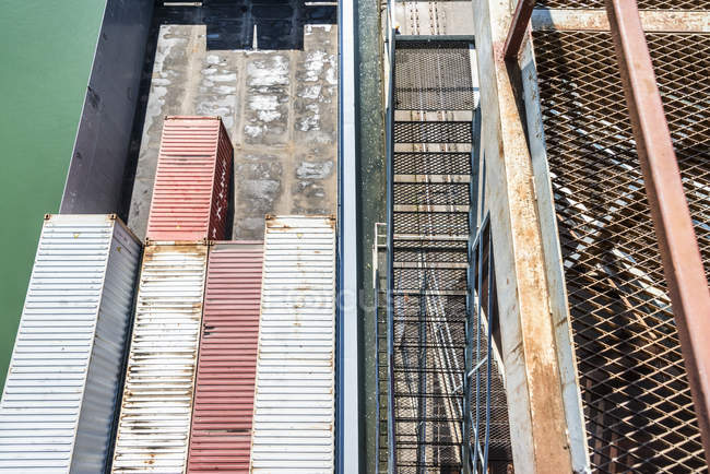 Top view of cargo containers at port — Stock Photo