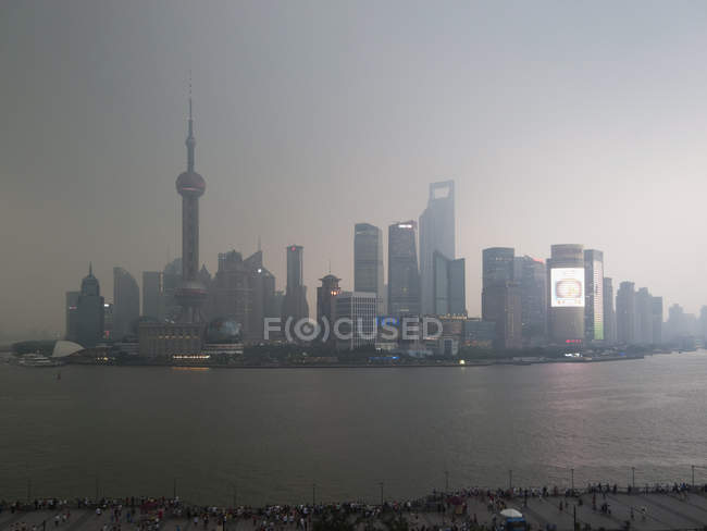 Distant view of Shanghai skyline at dusk — Stock Photo
