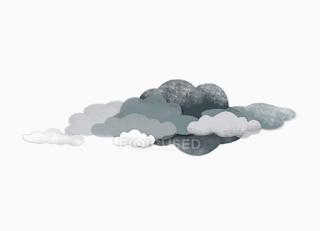 Illustration of storm clouds over white background — Stock Photo