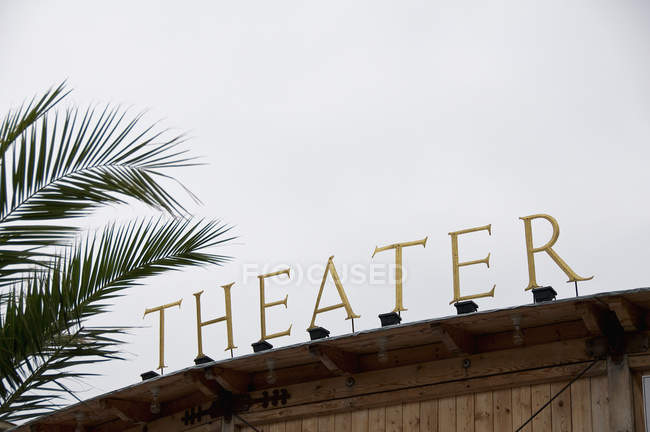 Theater sign against cloudy sky and palm leaves — Stock Photo
