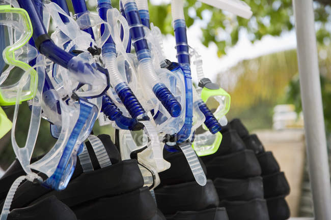 Detail of snorkeling equipment hanging at outdoor — Stock Photo
