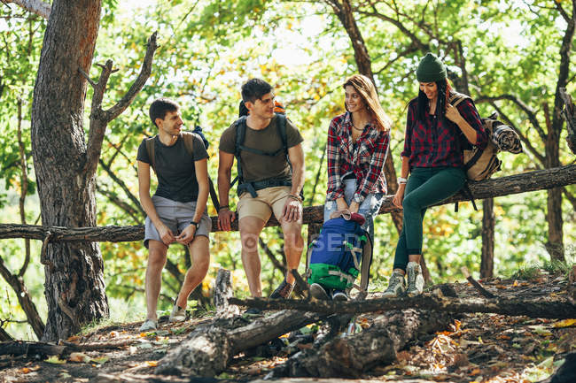 Full length of friends sitting on wooden log in forest — Stock Photo