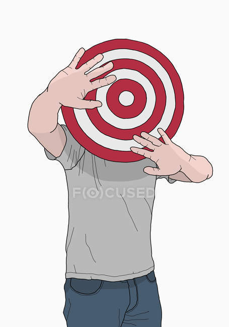 Illustration of man with target in front of head — Stock Photo