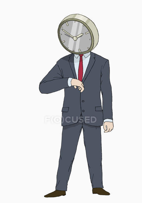 Illustration of businessman with clock head looking at hand watch — Stock Photo