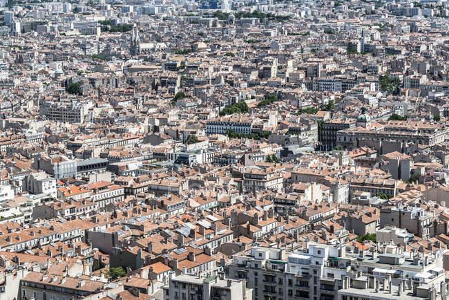 Vista aérea das casas de telhados vermelhos — Fotografia de Stock