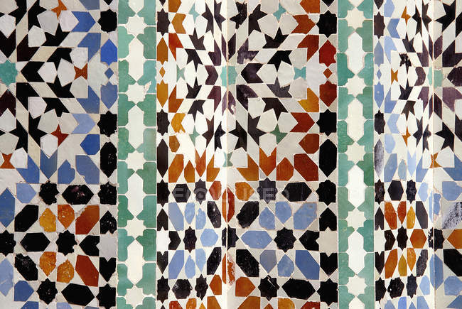 Close up view of ornate Moroccan tiles pattern — Stock Photo