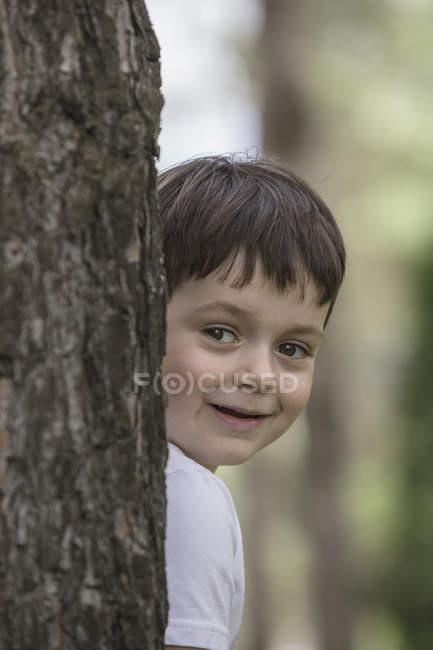 Menino bonito, escondendo-se atrás do tronco de árvore no parque — Fotografia de Stock
