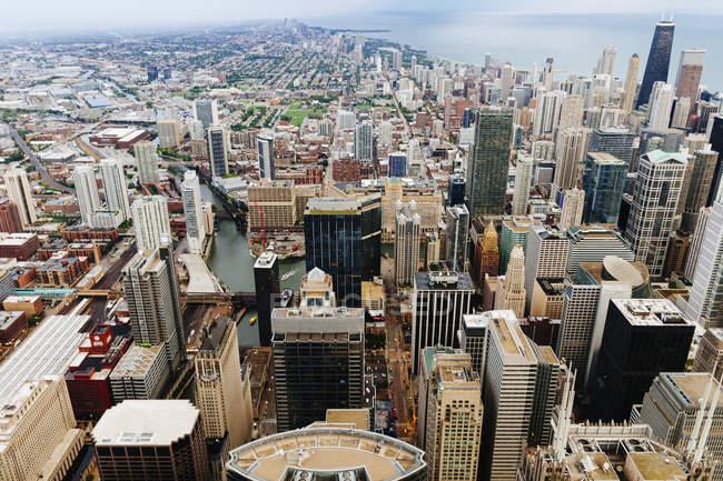 Ángulo bajo de céntricos rascacielos en ciudad costera - foto de stock