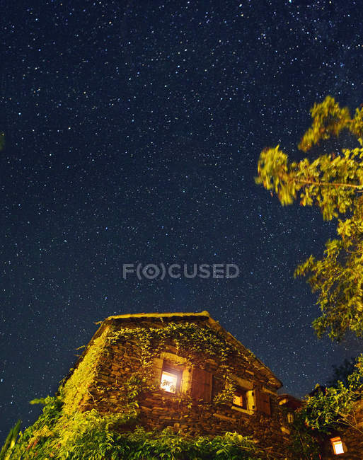 Bottom view of ivy covered house under star filled night sky — Stock Photo