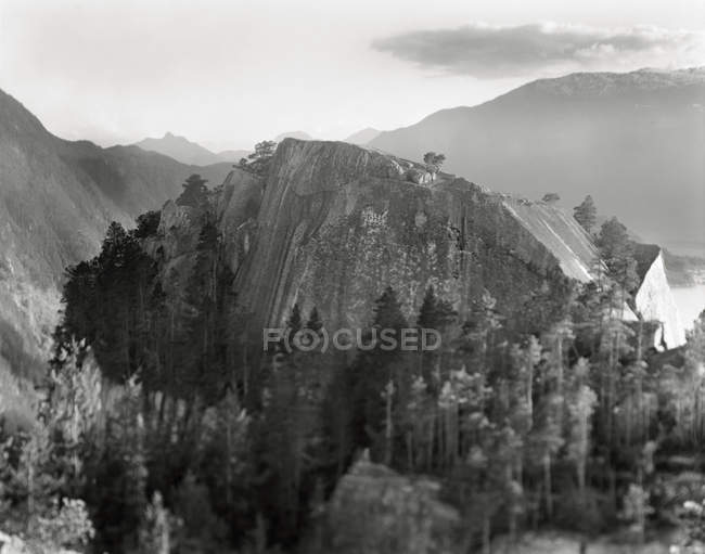 Aerial view of rocky mountain landscape with on misty day — Stock Photo