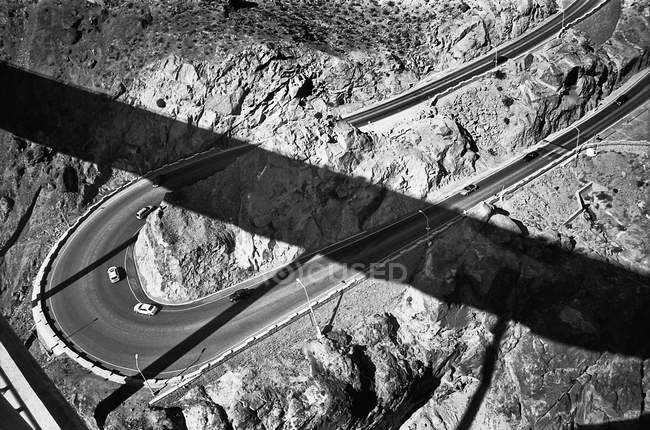 Aerial view of cars moving on two lane highway — Stock Photo