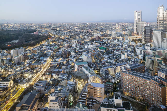 High angle view of cityscape at dusk — Stock Photo