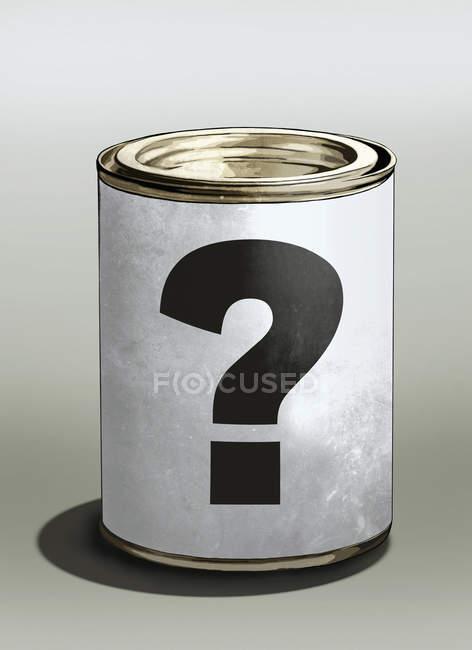 Ponto de interrogação na lata em fundo colorido — Fotografia de Stock