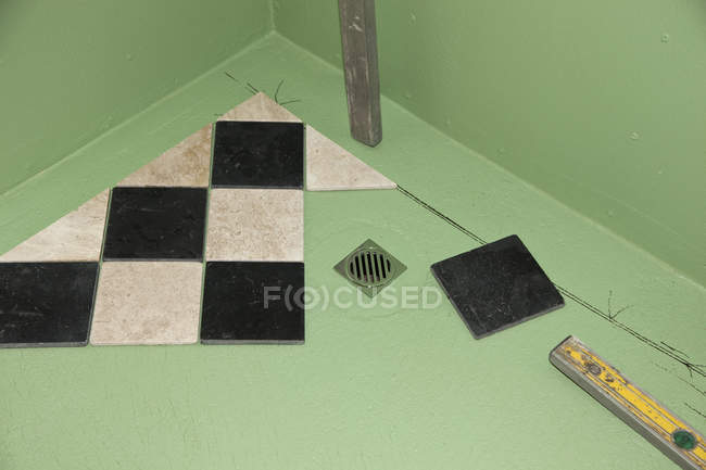 High angle view of floor tiles in process of installation — Stock Photo