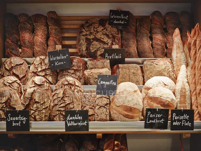 Vari pane appena sfornato visualizzato negli scaffali — Foto stock
