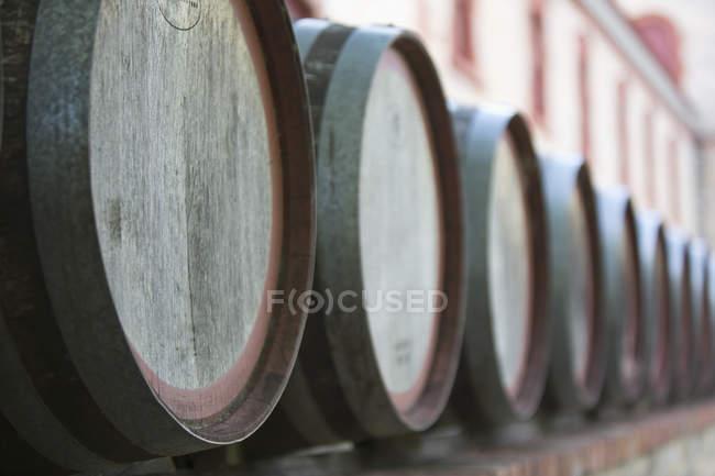 Perspectiva decrescente de barris de vinho na adega — Fotografia de Stock