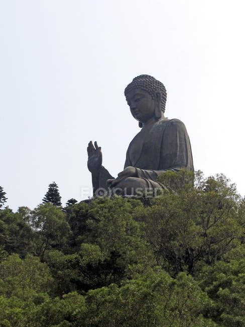 Big Buddha statue on green hill over clear sky — Stock Photo