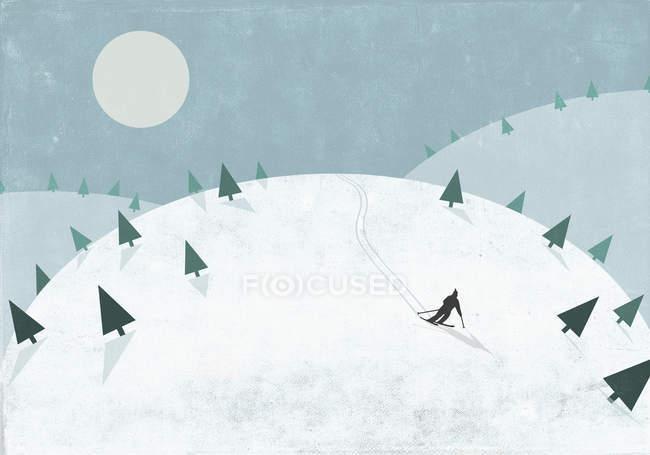 Silueta de la persona esquiando en la colina nevada - foto de stock