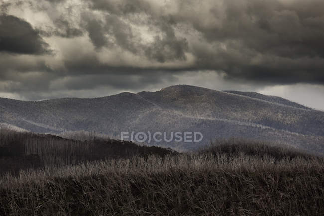 Scenic landscape of rolling hills under storm clouds — Stock Photo